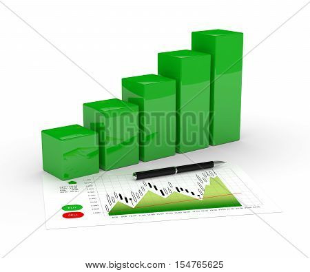 3D Rendering Of Chart Growth And Pen Over White