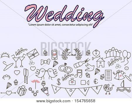 Wedding banner vector. Icons art set Doodle line design of web banner template with bridal bouquet, stroller, love, glasses, rings