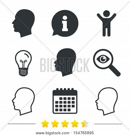 Head icons. Male and female human sign symbols. Information, light bulb and calendar icons. Investigate magnifier. Vector