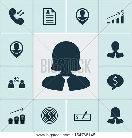 Set Of Human Resources Icons On Pin Employee, Phone Conference And Successful Investment Topics. Edi