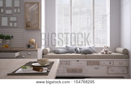 Scandinavian white kitchen, interior design, 3d illustration