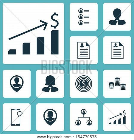 Set Of Human Resources Icons On Tree Structure, Manager And Business Goal Topics. Editable Vector Il