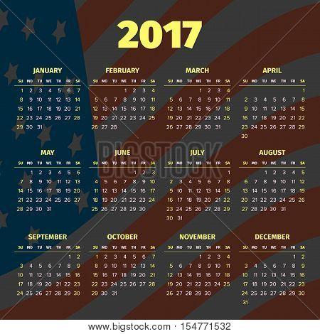 Calendar 2017 with darken USA flag background