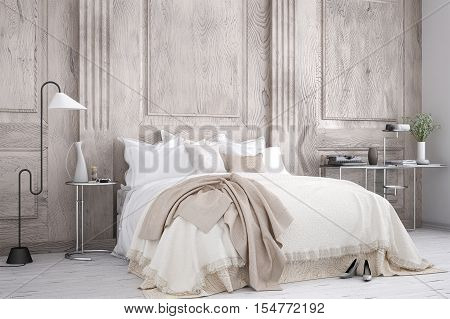 Classic vintage bedroom, interior design, 3d illustration
