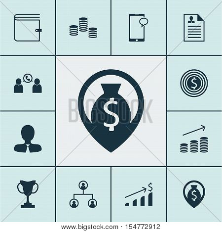 Set Of Human Resources Icons On Tournament, Business Goal And Tree Structure Topics. Editable Vector