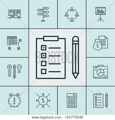 Set Of Project Management Icons On Investment, Report And Schedule Topics. Editable Vector Illustrat