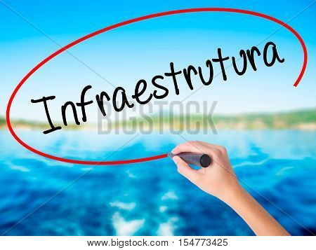 Woman Hand Writing Infraestrutura (infrastructure In Portuguese) With A Marker Over Transparent Boar