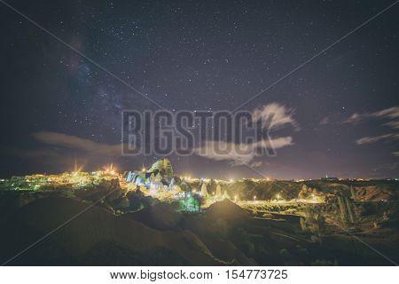 Night view of Uchisar castle in Cappadocia, Turkey. Toned like Instagram filter