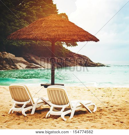 Summer Vacation On Sea Coast Or Ocean Beach