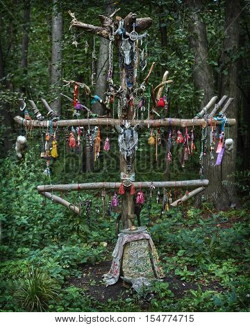Offerings to the pagan gods in the forest temple.
