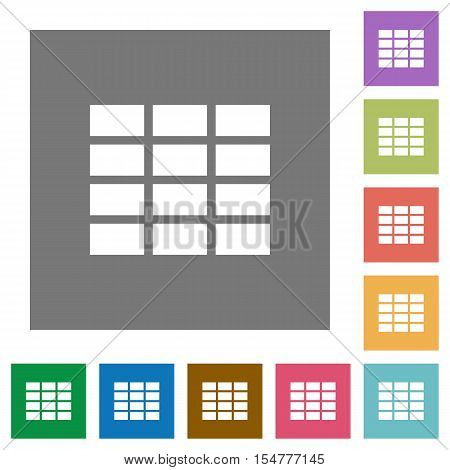 Spreadsheet flat icons on simple color square background.