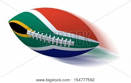South African flag on rugby ball with motion blur on White 3D Illustration