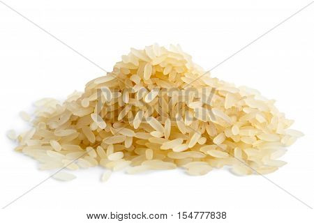Pile Of Long Grain Parboiled Rice Isolated On White.