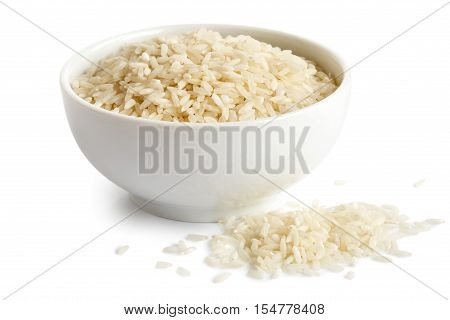 Bowl Of Long Grain White Rice Isolated On White. Spilled Rice.