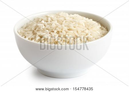 Bowl Of Long Grain White Rice Isolated On White.