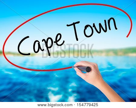 Woman Hand Writing Cape Town With A Marker Over Transparent Board