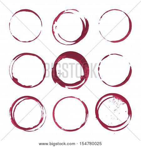 Red wine stains. Traces wine splashes set. Vector
