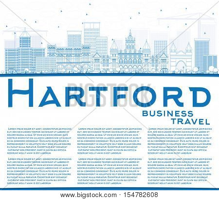 Outline Hartford Skyline with Blue Buildings and Copy Space. Business Travel and Tourism Concept with Historic Architecture. Image for Presentation Banner Placard and Web Site.