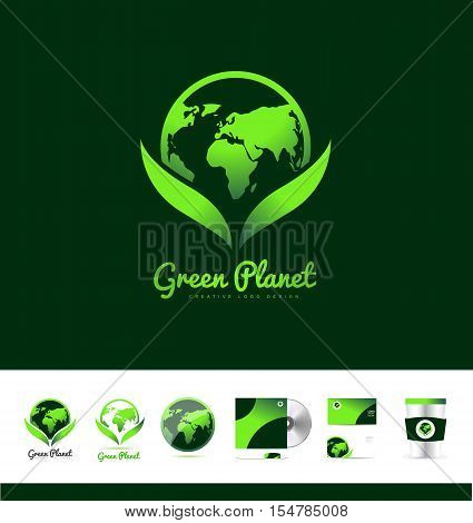 Green planet earth continents ecology nature friendly vector logo icon sign design template corporate identity