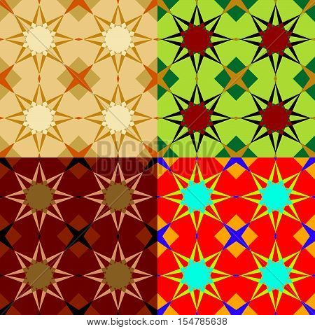 Set of seamless vector patterns with stars in different color styles