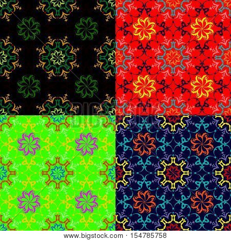 Set of seamless vector floral patterns in different color styles