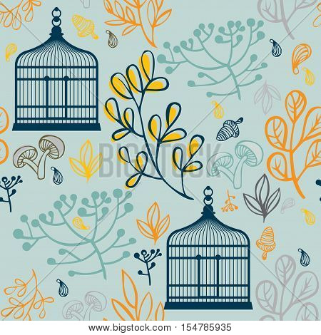 Autumn seamless pattern can be used for wallpaper, website background, wrapping paper. Autumn elements design of leaf and vintage birdcages