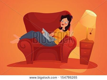 Young adult woman working at home. vector concept illustration. Freelancer character working at home with laptop computer on cozy sofa.