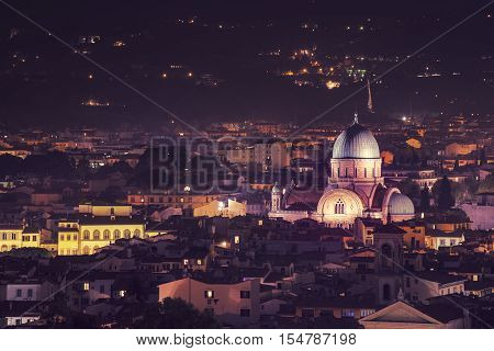 Great Synagogue of Florence at night, view from above. Travel outdoor sightseeing background