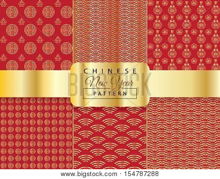 Chinese New Year pattern. Chinese luxury background. Set of Asian traditional seamless pattern with gold ornament on red background. Vector illustration. Ornamental silk texture.