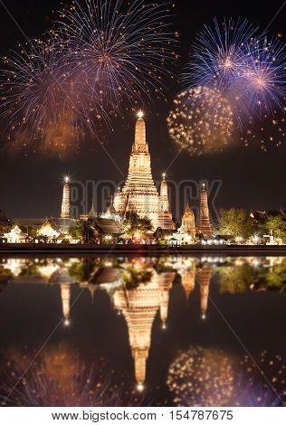 exotic new year - Bangkok new year countdown fireworks at Wat Arun Temple, Bangkok, Thailand