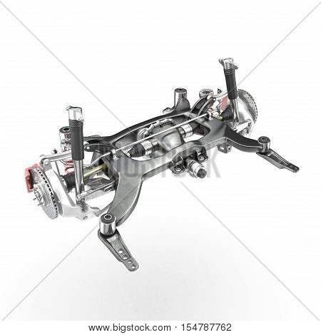 Car Shock Absorber and Spring on white background. 3D illustration