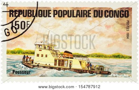MOSCOW RUSSIA - AUGUST 05 2016: A stamp printed in Congo shows image of pusher ship series