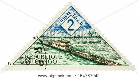 MOSCOW RUSSIA - AUGUST 17 2016: A stamp printed in Congo shows river barge circa 1961