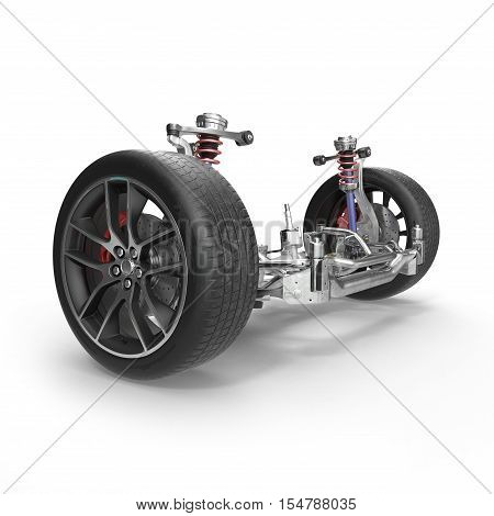 Car front suspension with disc brake on white background. 3D illustration