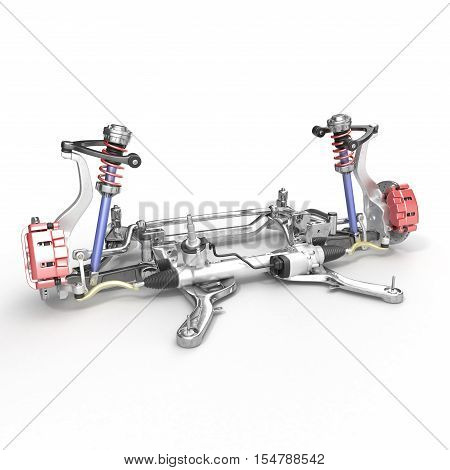 Front axle with suspension and absorber on white background. 3D illustration
