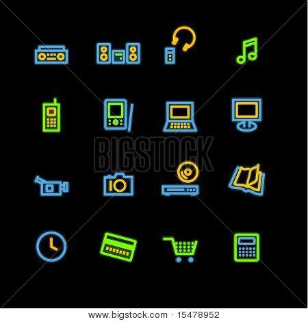 neon home electronics icons (raster)