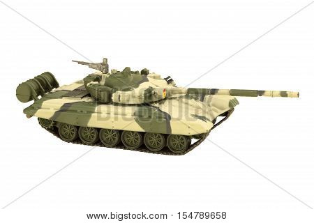 Image of a military tank with cannon isolated on white background T-72