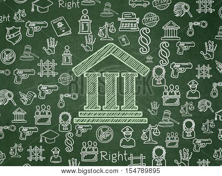 Law concept: Chalk Green Courthouse icon on School board background with  Hand Drawn Law Icons, School Board