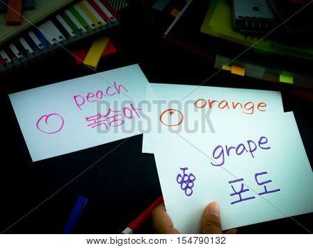 Learning New Language Making Original Flash Cards; Korean