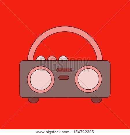 flat icon on stylish background tape recorder
