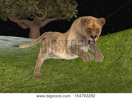 3D rendering of a female lion hunting in a night forest