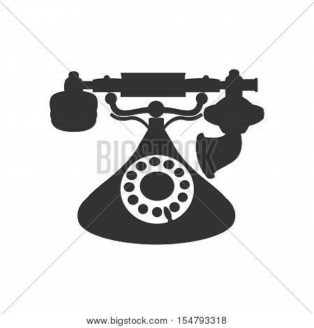Vector isolated silhouette of antique retro telephone
