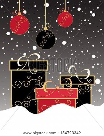 an illustration of a christmas greeting card with gift boxes and baubles decorated in black and red colors on a dark snowy background