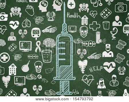 Health concept: Chalk Blue Syringe icon on School board background with  Hand Drawn Medicine Icons, School Board