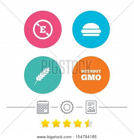 Food additive icon. Hamburger fast food sign. Gluten free and No GMO symbols. Without E acid stabilizers. Calendar, cogwheel and report linear icons. Star vote ranking. Vector