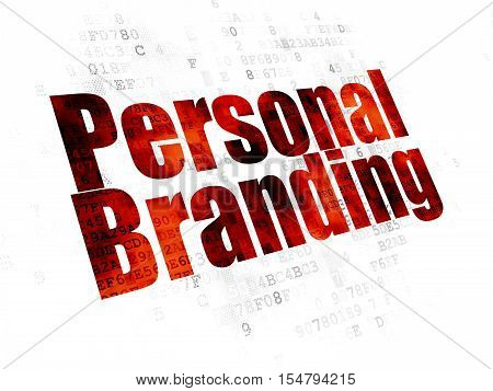 Marketing concept: Pixelated red text Personal Branding on Digital background