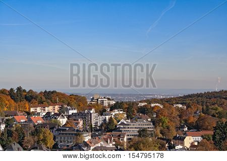 View from the castle ruin Koenigstein to the autumnal Rhein Main Ebene, Hesse, Germany