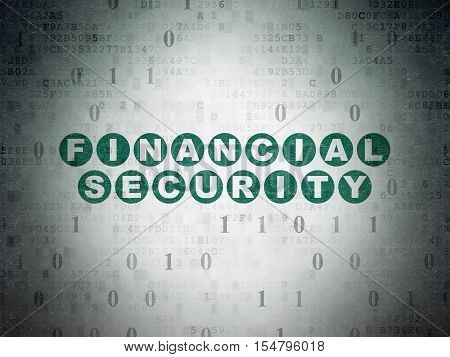 Privacy concept: Painted green text Financial Security on Digital Data Paper background with Binary Code