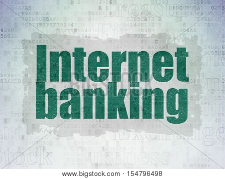 Banking concept: Painted green text Internet Banking on Digital Data Paper background with   Tag Cloud