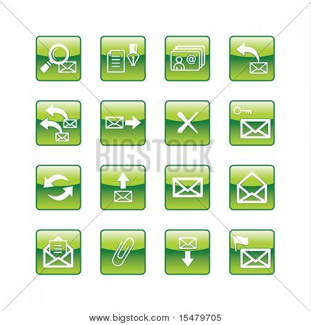 green aqua e-mail icons (raster)